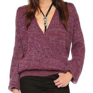 Free People Karina Deep V-Neck Slouch Knit Sweater